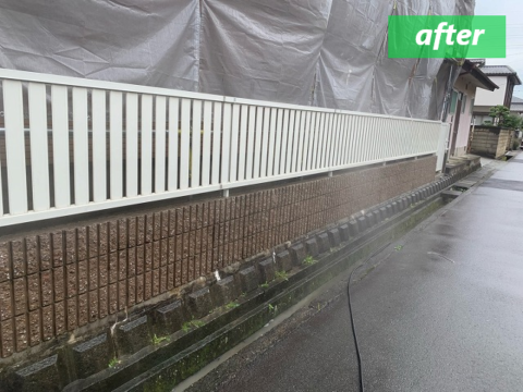 高圧洗浄後のコンクリートフェンス